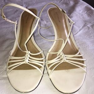 Ann Taylor ivory sandals, leather upper and sole